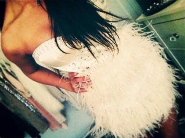 dress white feathers short prom party