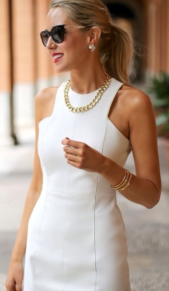 dress sunglasses top white top white dress classic dress spring dress spring summer dress jewels white