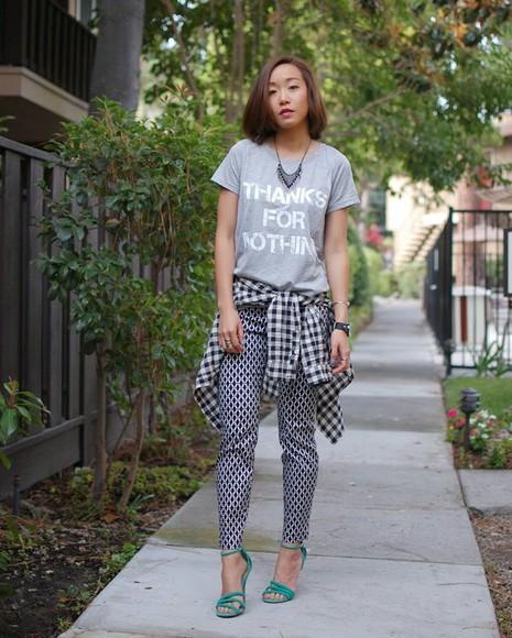 printed pants blogger monkeyshines t-shirt