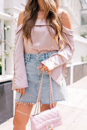 top,tumblr,silk,pink top,off the shoulder,off the shoulder top,skirt,mini skirt,denim skirt,denim