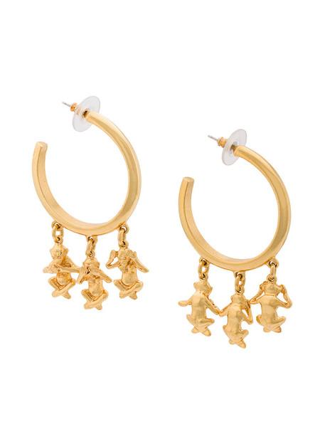 oscar de la renta women earrings grey metallic jewels