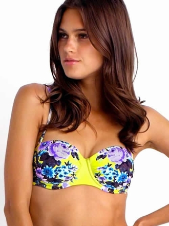 Seafolly Bella Rose Bustier Bra Chartreuse - Elite Fashion Swimwear