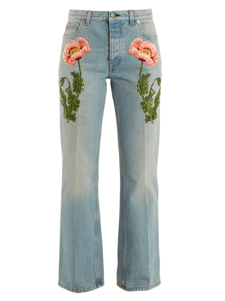 gucci jeans embroidered denim