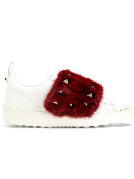 Valentino fur sneakers fur women sneakers leather white shoes