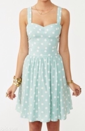 dress mint mint/white rock'n'roll fifties white dress pointy dotted skirt dotted dress