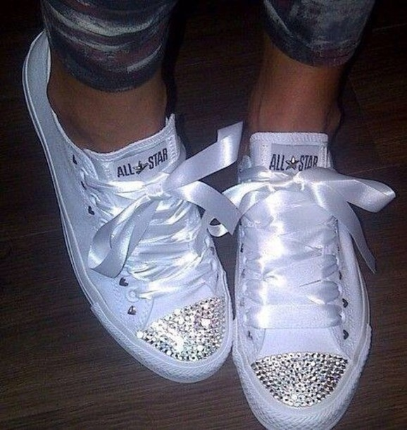 2c2c51a9ce76 shoes converse white silk converse low tops converse glitter shoes bow  shoes sparkling shoes converse ribbon