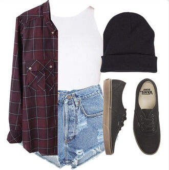 shirt grunge flannel top street shorts vans outfit burgundy red dark maroon and black chill flannel shirt beanie hipster top shoes denim shorts ripped shorts