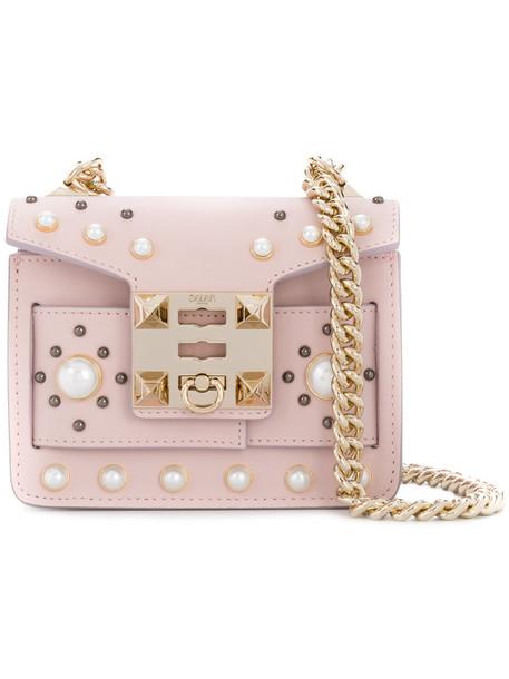 mini women embellished bag mini bag leather purple pink