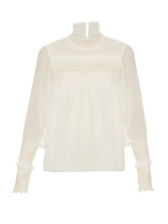 blouse high white top