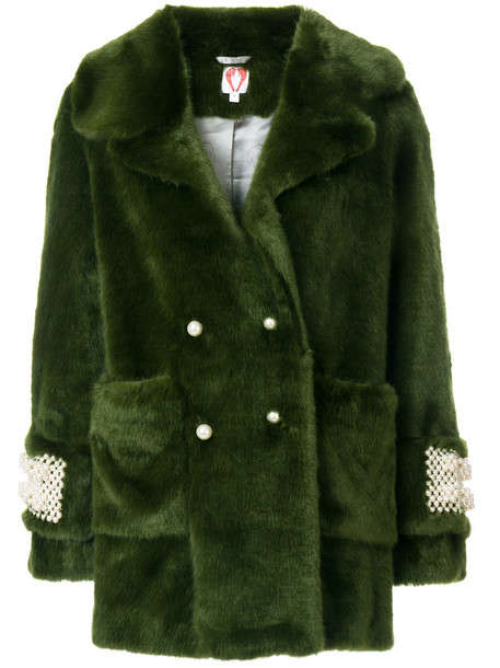 Shrimps coat fur faux fur women pearl plastic embellished green