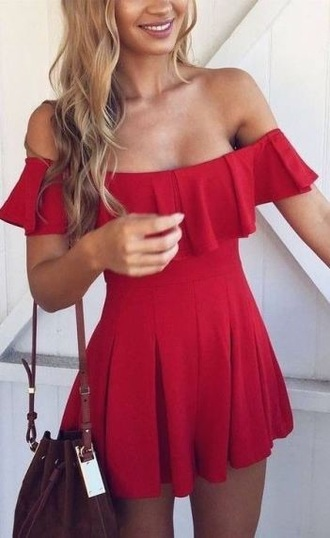 romper red ruffle dress red dress off the shoulder dress off the shoulder summer summer dress