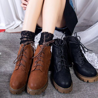 shoes black brown martin boots lace up fashion style cool trendy casual