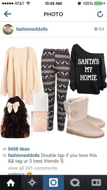 pants sweater christmas leggings christmas sweater homies santa claus top leggings swimwear phone cover