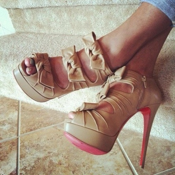 shoes beige shoes nude high heels beige high heels bow high heels, bows pink high heels