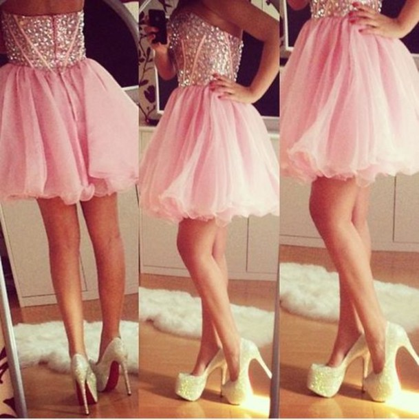 dress, shoes, pink dress, pink, prom dress, glitter, short prom ...