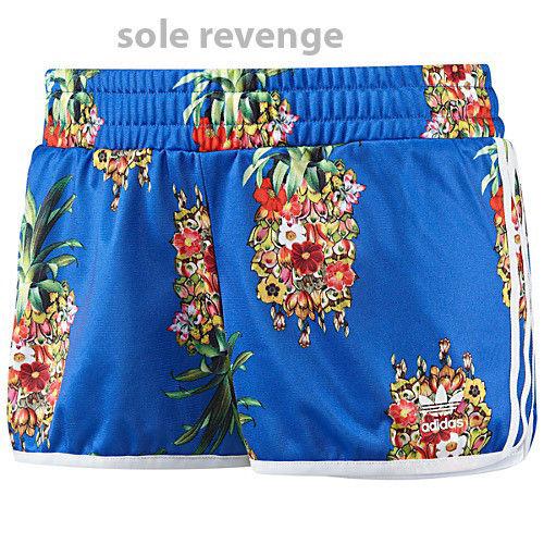 New! adidas Originals FRUTAFLOR Shorts Blue Pineapple Flowers Brazil FARM