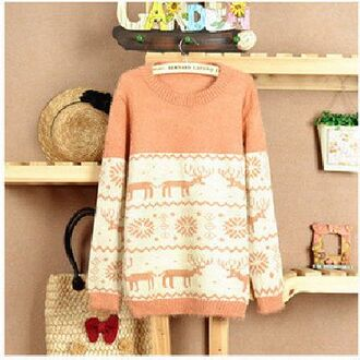 sweater orange deer cute winter sweater oversized pink snowflake clothes winter outfits