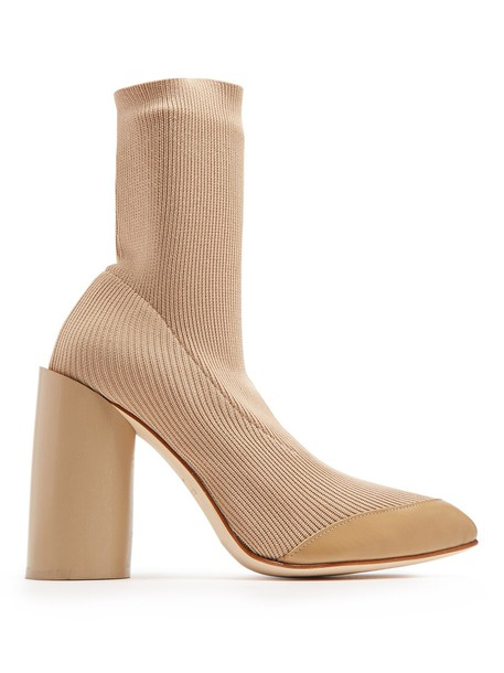 Toga heel ankle boots leather knit nude shoes