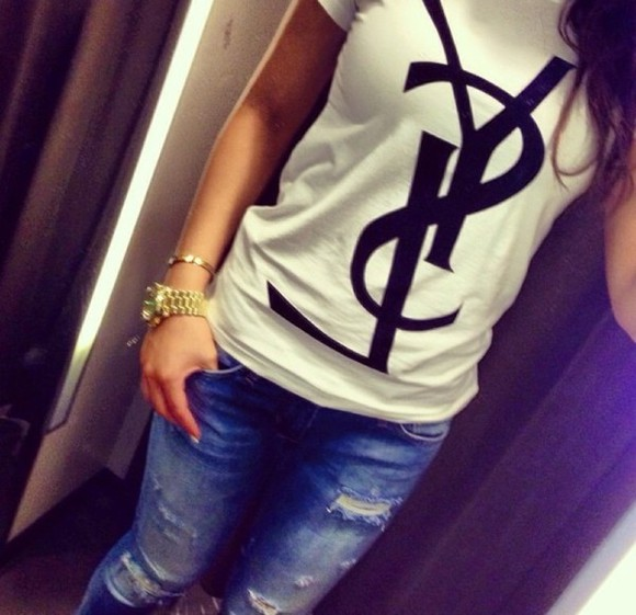 jeans blouse white t-shirt ysl shirt mk watch