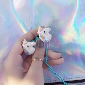 earphones earbuds soft grunge pastel pastel goth unicorn music pink blue instagram kawaii grunge kawaii kawaii accessory