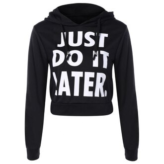 sweater black quote on it fashion long sleeves black and white sporty cool trendsgal.com t-shirt