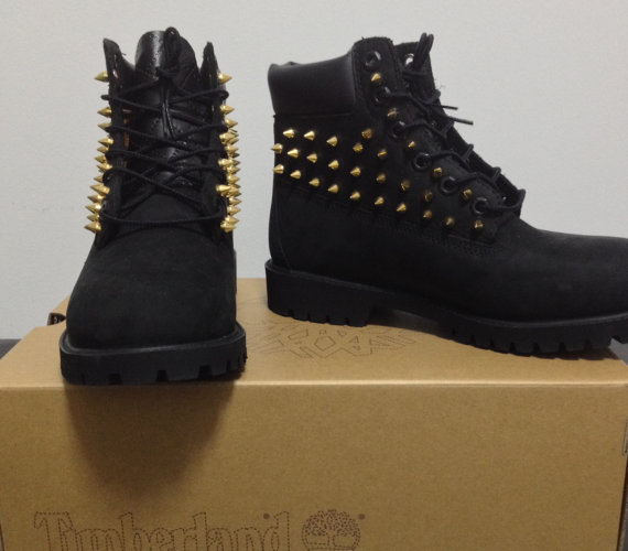 Customized Timberlands With Spikes Custom Spiked Black Timberland
