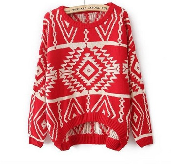 free shipping 2013 new autumn and winter women fashion spell color geometric rhombus retro sweater pullover outerwear xw045-in Pullovers from Apparel & Accessories on Aliexpress.com