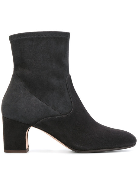 Unützer women ankle boots leather suede grey shoes