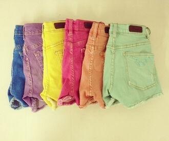 shorts colorful hot pants high waisted mint purple orange pink yellow blue girly blue dress