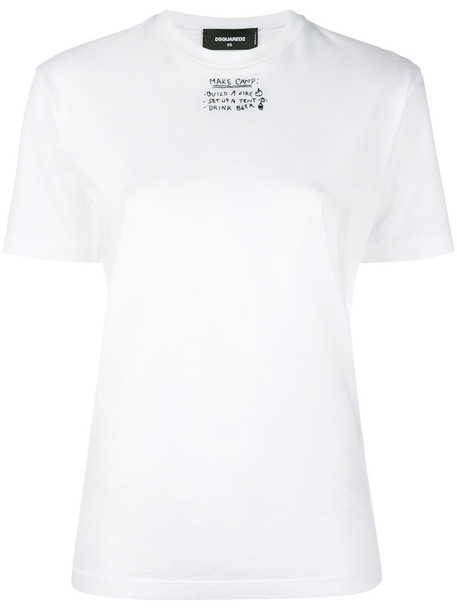 Dsquared2 t-shirt shirt t-shirt embroidered women white cotton top