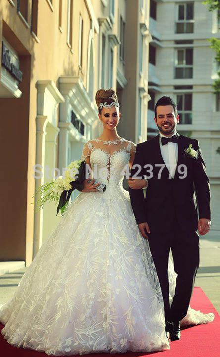 Aliexpress.com : buy gorgeous long embroidery lace vestidos de noiva wedding dresses 2015 long sleeve appliques bridal gown sheer open back from reliable lace back wedding dress suppliers on 27 dress