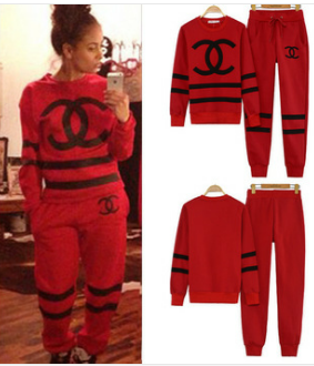 cc premium suit unisex coco chanel pullover fleece red. Black Bedroom Furniture Sets. Home Design Ideas