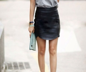 curved hem tulip hem black faux leather skirt leather skirt high waisted skirt