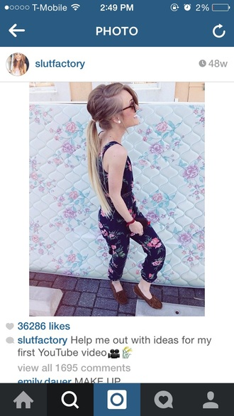 jumpsuit aspen mansfield slutfactory floral jumpsuit floral tank top black jumpsuit sunglasses moccasins hairstyles earrings belt belted waist