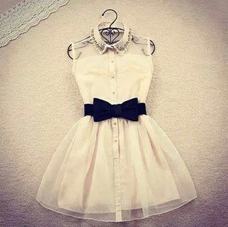 dress tumblr weheartit cream white bow pastel see through sweet pretty collar black