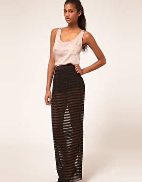 ASOS | ASOS Sheer Stripe Maxi Skirt With Knicker Shorts at ASOS