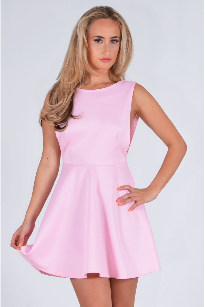 Valetta Open Back Ponte Skater Dress In Pastel Pink