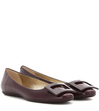 leather purple shoes