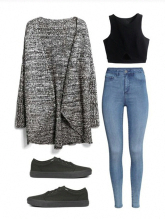 jeans cardigan top