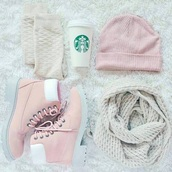 hat,bonnet,winter outfits,shoes,boots,starbucks coffee,girly,pink,scarf