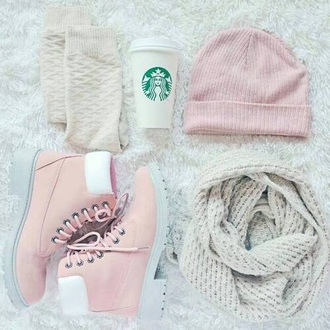 hat bonnet winter outfits shoes boots starbucks coffee girly pink scarf
