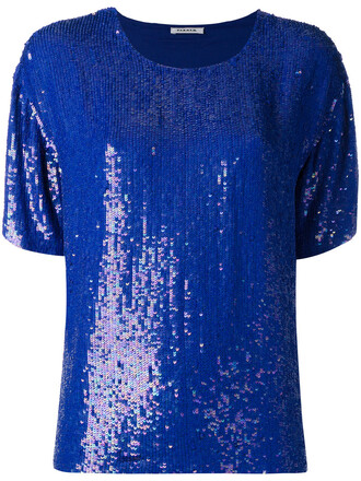 blouse sequin blouse women blue top
