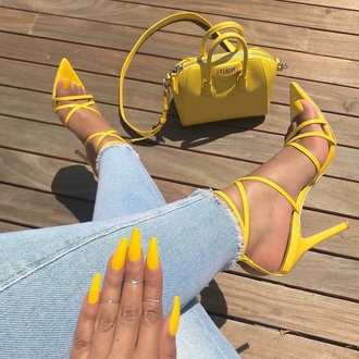 shoes pointed toe heels yellow pointed toe pumps