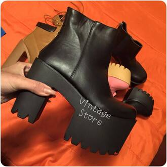 shoes boots platform shoes black leather synthetic leather ankle boots high heels cleated sole zip