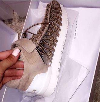 shoes balmain sneakers mesh net nude beige velvet