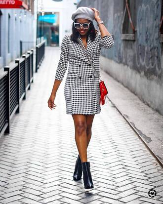 dress tumblr mini dress blazer dress hat beret boots black boots ankle boots sunglasses
