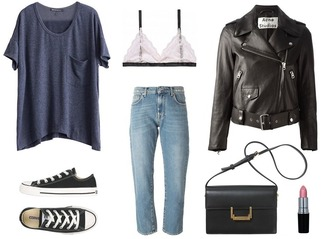 jestem kasia blogger mom jeans casual outfit leather jacket perfecto black bag lace bra t-shirt shoes jacket underwear jeans bag make-up
