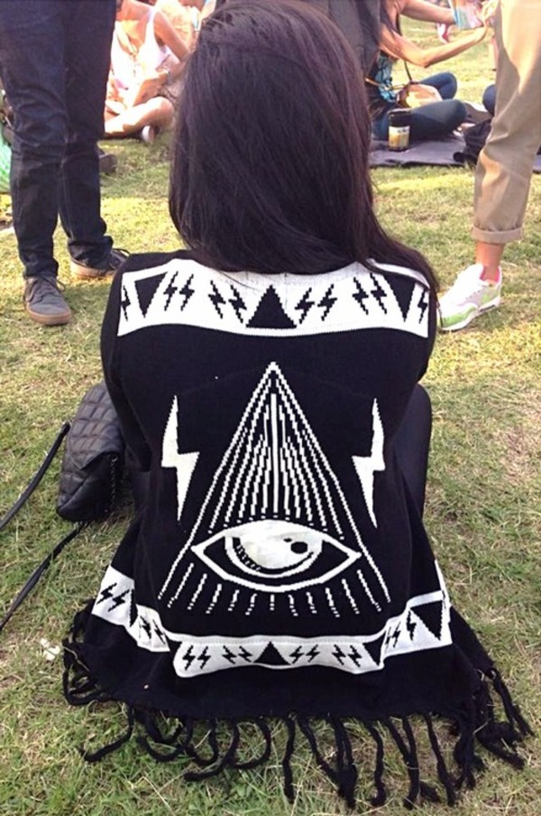 sweater white triangle cardigan illuminati tassel lightning bolt