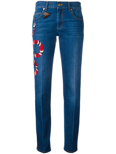 gucci jeans embroidered women leather cotton blue