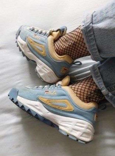 shoes blue beige white sneakers fila fila sneakers